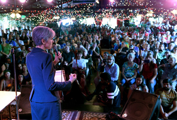 Green party candidate Jill Stein speaks at the Mercury Cafe in Denver, Colorado.