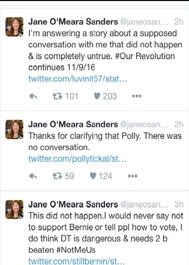 Jane Sanders DID NOT SAY To Not Write-In BernieSanders